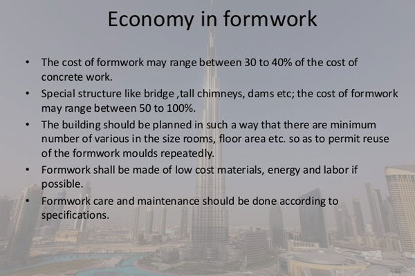 Economics of project formwork